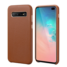 Luxury Metal Volume Button Case For Samsung Galaxy S10 S10 Plus S10E Vintage Plated Slim Soft Genuine Leather Back Case Cover