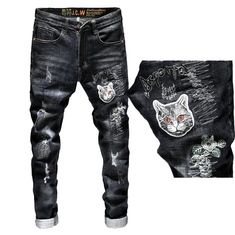 2019 Summer New Style Embroidered Jeans Men's Korean-style Slim Fit Pants With Holes Pants Male STUDENT'S Embroidery Popular Bra
