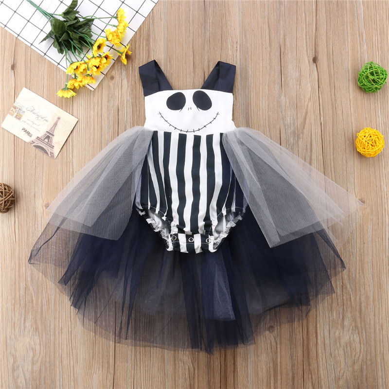 Newborn Toddler Baby Girl Halloween Black Bodysuit Striped Tutu Skirt Jumpsuit Playsuit Clothes 0-24M