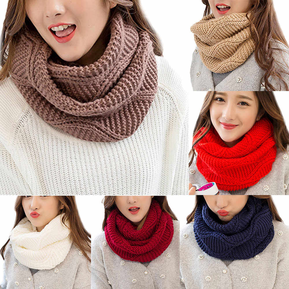 2020 Nieuwe Herfst Winter Fashion Vrouwen Warm Knit Neck Circle Cowl Snood Multifunctionele Sjaal Thermische Cowl Kraag Cirkel sjaal #927