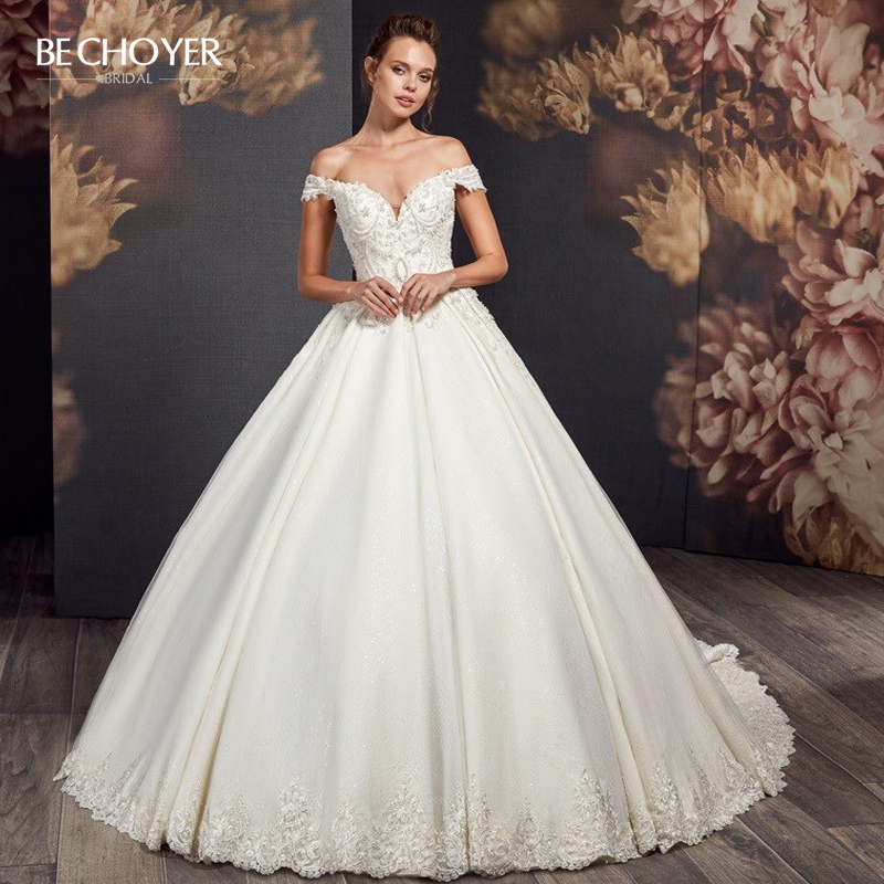 Luxury Beaded Wedding Dress BECHOYER AX17 Sweetheart Off Shoulder Appliques A-Line Illusion Princess Bride Gown Vestido De Noiva
