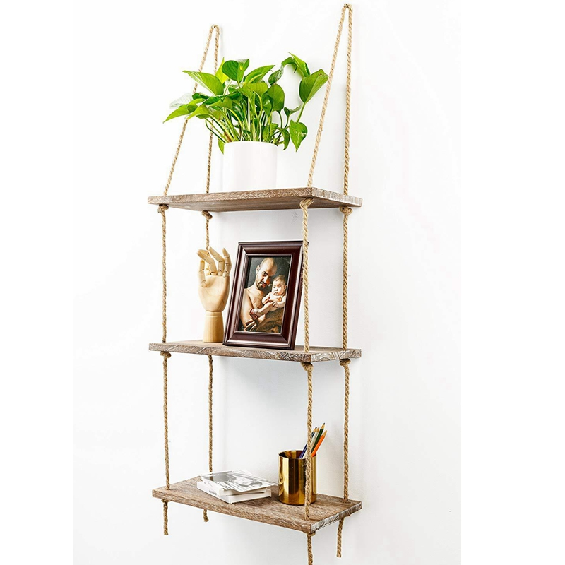 Rope Hanging Wall Shelf 3 Tier Floating Shelves Rustic Wood Mounted Decorative /&