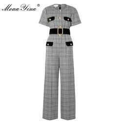 MoaaYina Spring Summer Designer Jumpsuits Women's Short sleeve Plaid Elegant Office Lady Wide leg Jumpsuits