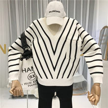 Knitted Sweater with Cut V-Neck High Street Striped Pockets Fall Winter 2019 New Items Women Top Korean Fashion