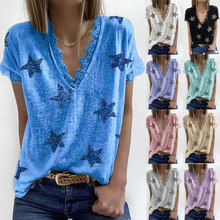 New T-Shirt Women V-neck Printed Sexy Lace Short Sleeve T Shirts Summer Casual Basic Female Plus Size Clothing Street Tees Top