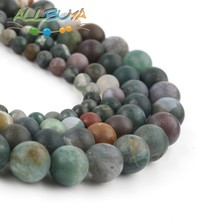 4-12mm Natural Matte Stone Beads India Agates Round Loose for Jewelry Making DIY Bracelet 15 mixed color Minerals