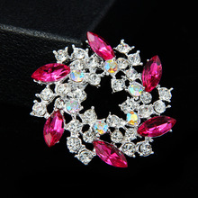 High-end Retro Crystal Brooch New Fashion Wild Purple Gold Flower Womens Sweater Jewelry Female Christmas Gift