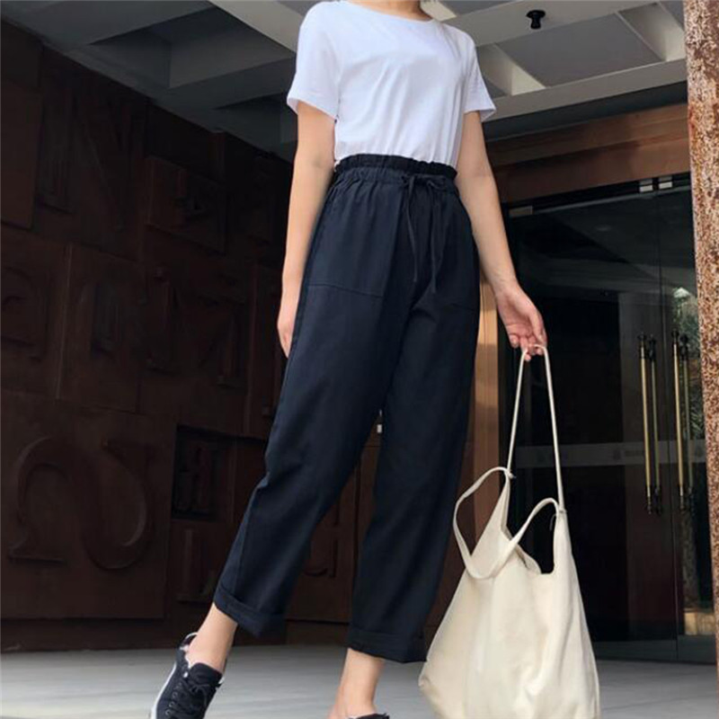 Women Casual Harajuku Spring New Summer Long Thin Section Trousers Sashes High Elastic Waist Pants Ankle Length Haren Pants