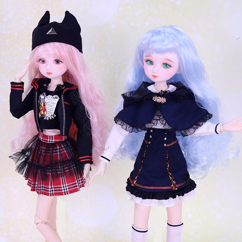 Dream Fairy 1/4 BJD 45cm Ball Jointed Dolls Campus Dress Up BJD Doll Full Set Cute Makeup SD MSD DIY Dolls for Girls