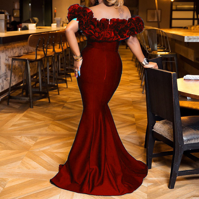 Sexy Off Shoulder Long Evening Party Dress Women Blue Bodycon Mermaid  Prom Dress Maxi African 2020 Summer Red Elegant Dresses 3