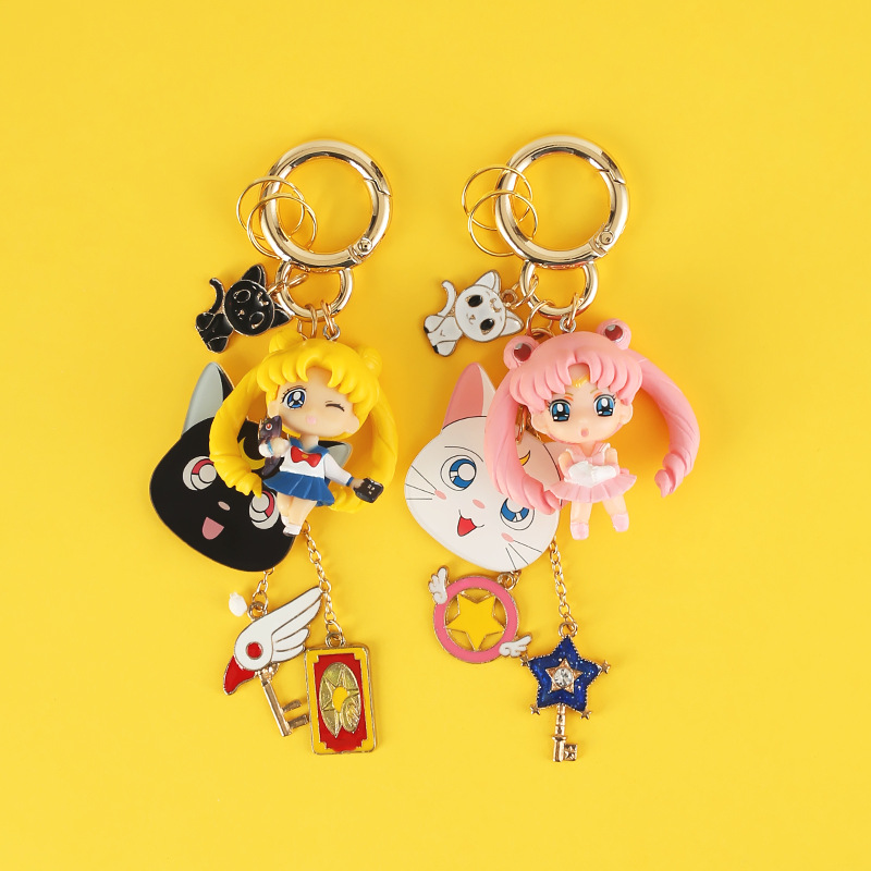 Cute Japanese Anime Sailor Moon Keychain Luna Cat Figure Toy Metal Key Chain For Bag Charms Car Keyring Gift Women Jewelry