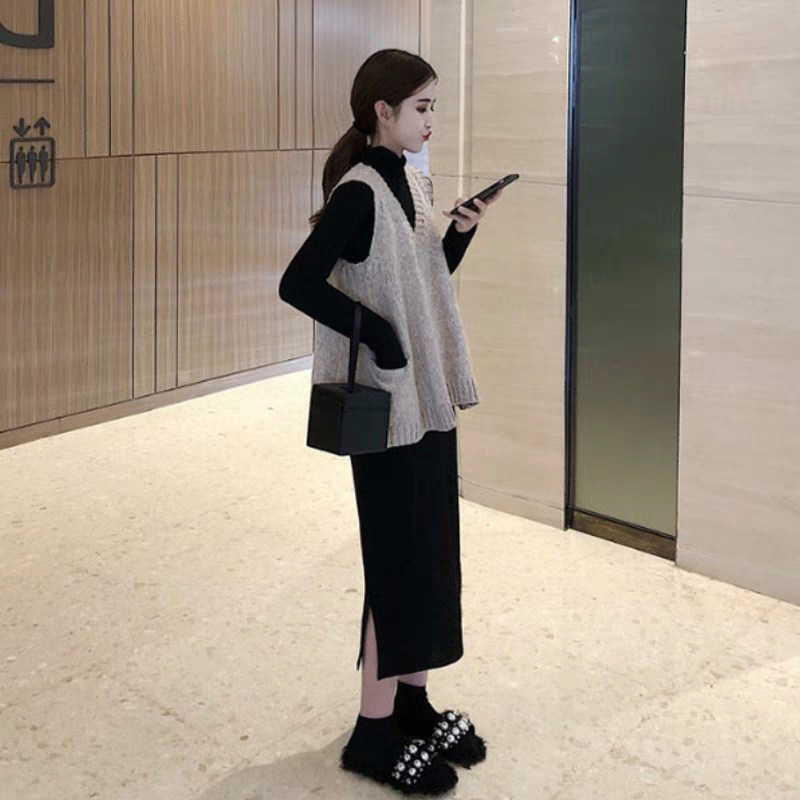 New 2019 Western Style Long Skirts Early Autumn Elegant Goddess-Style Royal Sister Sweater Waistcoat With Skirt Two-Piece Set Wo