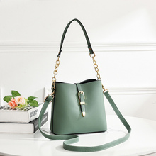2017 new female bag bucket bag korean simple fashion satchel all match bulk bag Bucket Bag Female 2019 New Summer Fashion Messenger Bag Wild Chain Simple Texture Shoulder Bag Korean Version Appliques PU