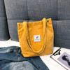 Shoulder Bag High Capacity Corduroy Tote Ladies Pure Hand Bag Foldable Reusable Shopping Travel Beach Bag