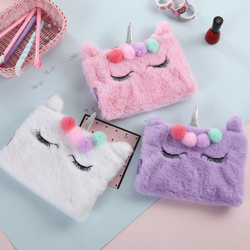New Unicorn Fur Handbag For Women Flower Flap Korean Day Clutches Purse Cute Zipper Makeup Envelope Pouch