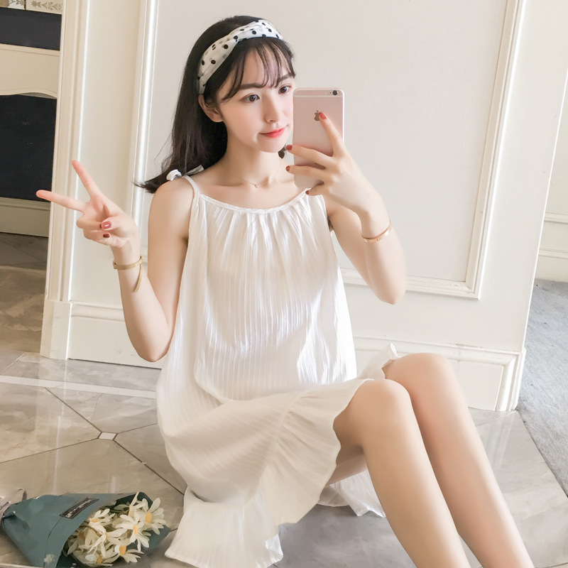 2019 Summer Princess Style Sexy Breathable Pure Cotton Jacquard Camisole GIRL'S Home One-piece Nightgown