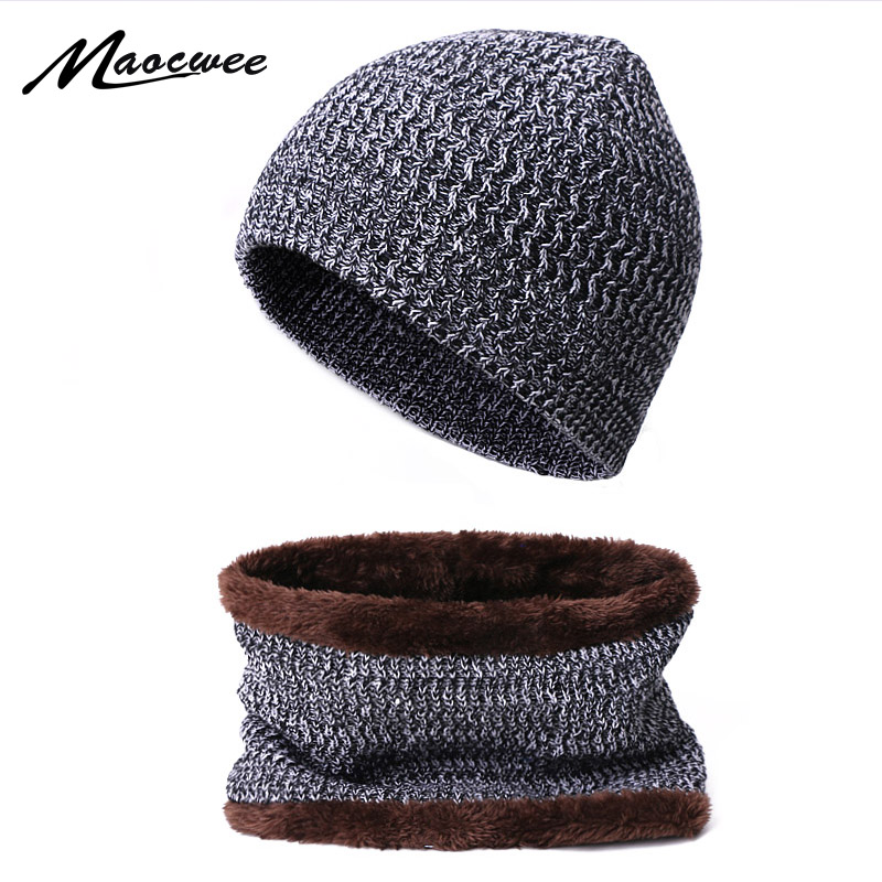 2019 Winter Women Hat Scarf Set Knitted Female Warm Hat Scarf Set With Lining Thicken Hat Set Men Women Casual Solid Bonnet Caps