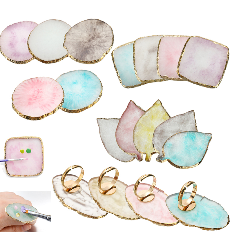 Resin Stone Eyelash Glue Holder Finger Ring Plate Nail Art Ring Palette Gel Polish Foundation Mixing Makeup Cosmetics Tool