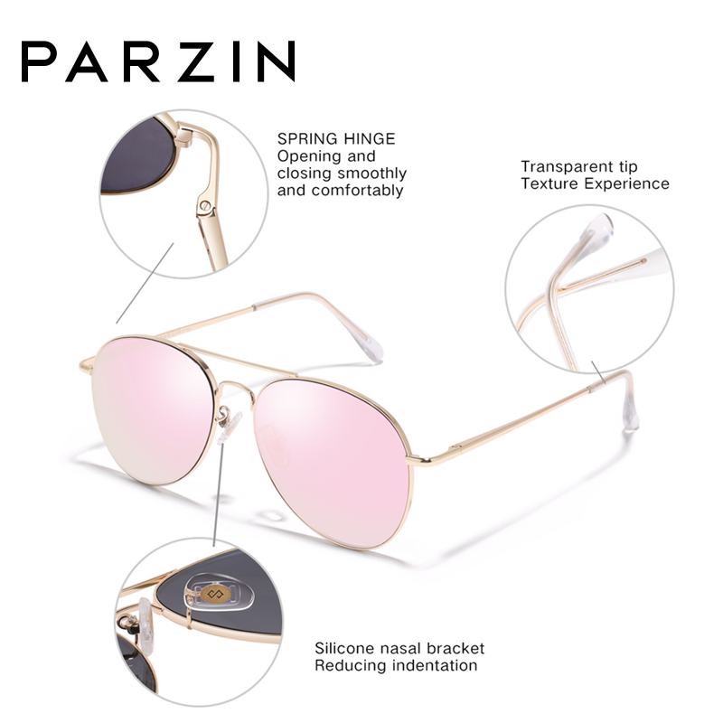 Image 3 - PARZIN Sunglasses Women Classic Pilot Sun Glasses For Men High Quality Alloy Frame Ladies Shades UV 400 53 mm  Driving Glasses-in Women's Sunglasses from Apparel Accessories