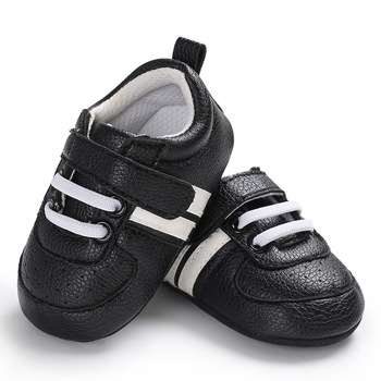 2020 Baby Shoes Newborn Boys Girls Two Striped First Walkers Kids Toddlers Lace Up PU Leather Soft Soles Sneakers 0-18 Months - 12, 13-18 Months