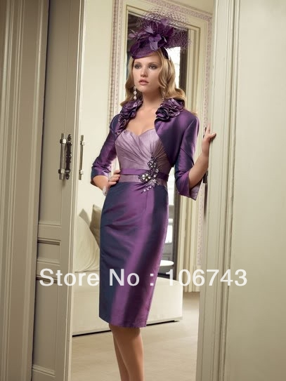 Dresses Free Shipping Customized 013 Formal Occasion Dress Purple Vestidos Formales Short Mother Of The Birde Dress With Jacket