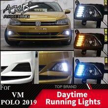 AKD для Volkswagen VM POLO MK7 динамический сигнал поворота реле водонепроницаемый автомобильный DRL Светодиодный дневной ходовой свет противотуманная фара украшение