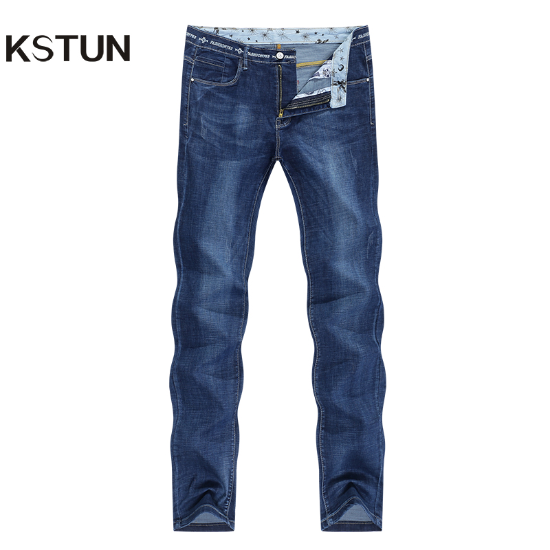 KSTUN Jeans Men Slim Straight Blue 2020 Summer Thin Regular Fit Casual Pants Cotton Men's Clothing Trousers Male Jeans Hombre