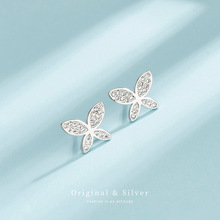 S925 sterling silver butterfly earrings fashion micro inlaid zircon earrings students sweet temperament silver earrings women silver jewelry inlaid natural blue earrings shine all match earrings fashion temperament section mixed batch