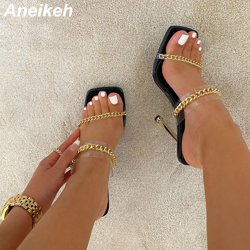 Aneikeh 2020 NEW METALLIC CLEAR CHAIN FAUX SNAKE PRINT STILETTO MULES Sexy Summer PVC Slippers Women Pumps Shoes Zapatos De Muje 1