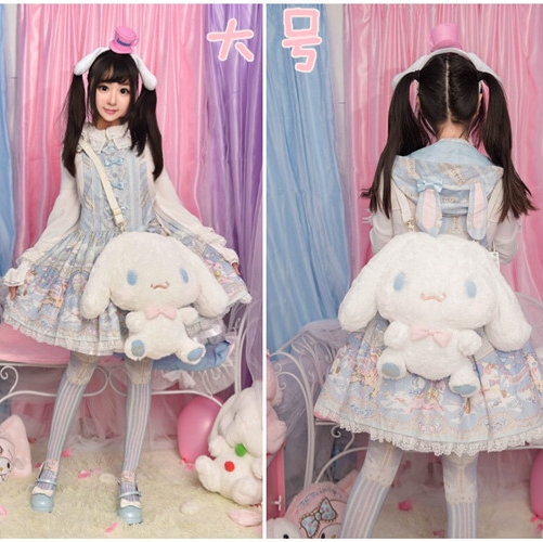 Lolita Cute Cinnamoroll Plush Cross Body Messenger Bag Young Girl Student Japanese Kawaii Shoulder Bag Doll Backpack Cosplay