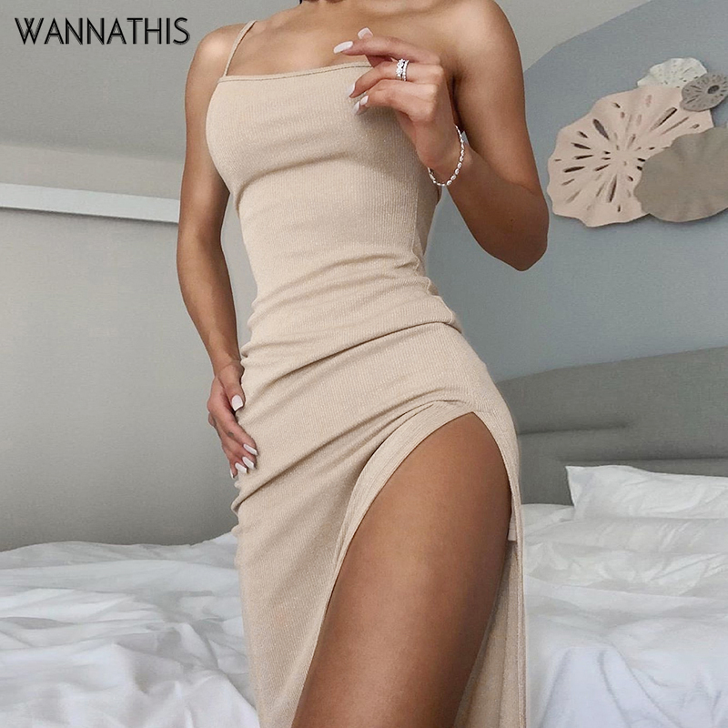 WannaThis Asymmetry Neck One-Shoulder Knitted Elastic Ankle-Length Dress Sexy Split Hem Slim Solid Cotton Party Summer Dresses