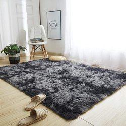 Tapis en peluche, teint en gris, doux, antidérapant, absorbant, pour sol de salon et chambre à coucher