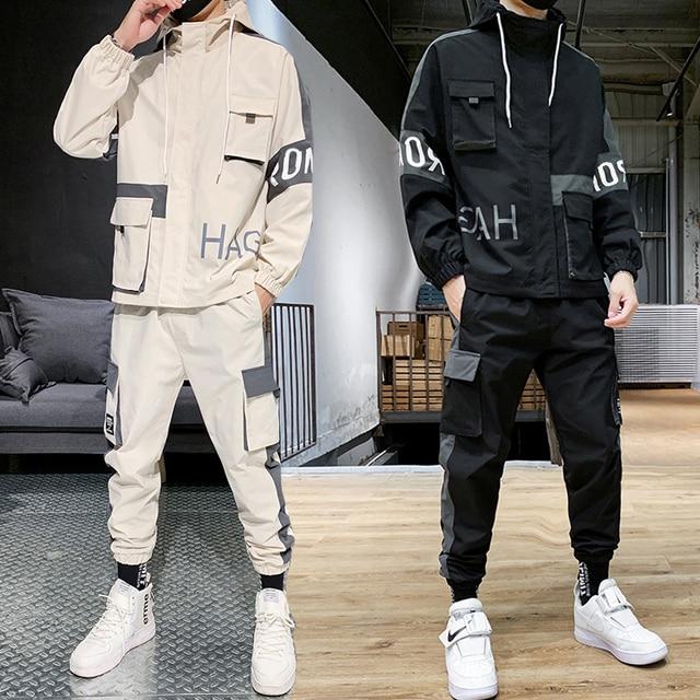 Hip-hop Suit Male Set Track Suits Sweatsuit Man Tracksuit Mens Set Pant Zipper Pockets Outwear 2PC Jacket+Pants Sets 2021 New 3