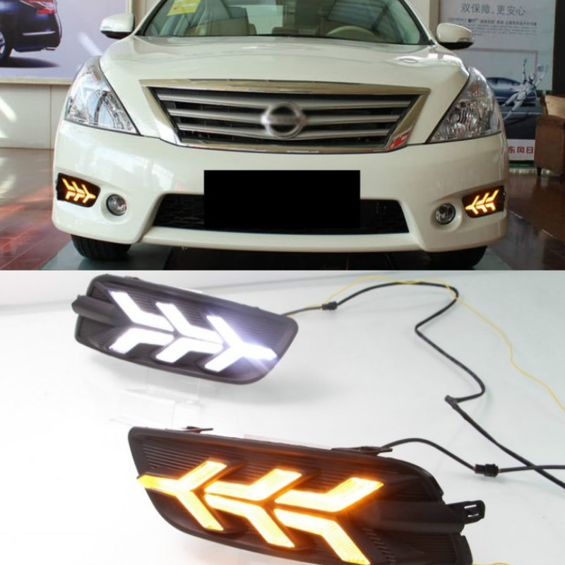 Car White Led Drl For Nissan Altima Teana J32 2011 2012 Daytime Running Lights Front Bumper Turn Signal Lamp image