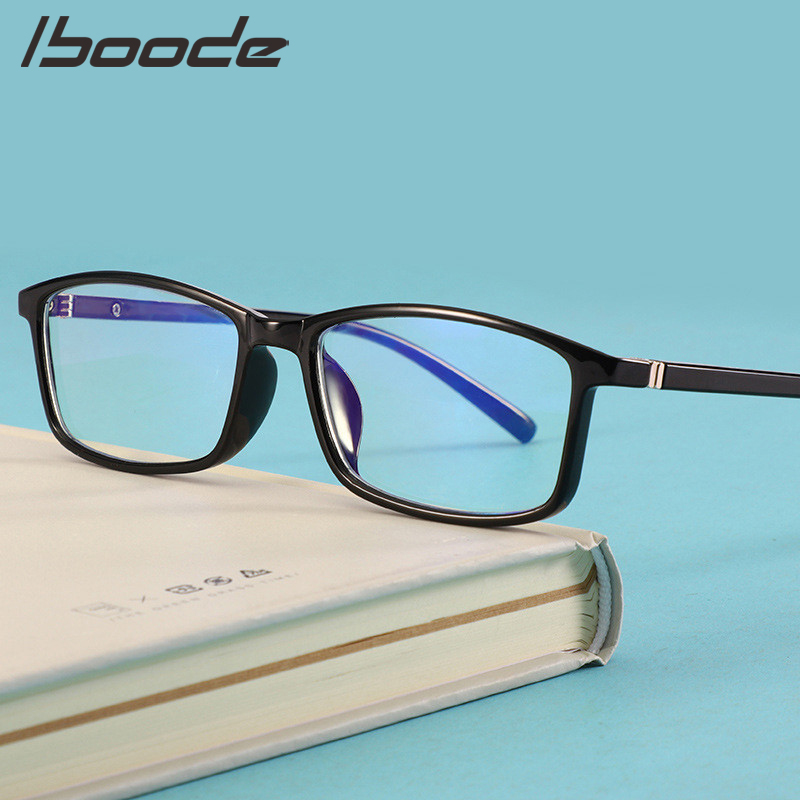 IBOODE Anti Blue Light Glasses Frame Women Men Square Transparent Eyeglasses Female Male TR90 Optical Spectacles Frames Eyewear