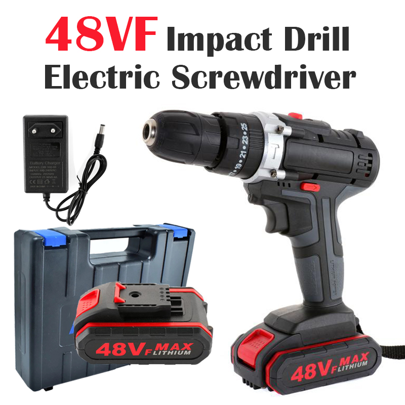 48VF Double Speed Electric Drill Wireless Impact Drill Wrench Screwdriver Power Hand Driver Drill Hammer Drill with Battery Tool