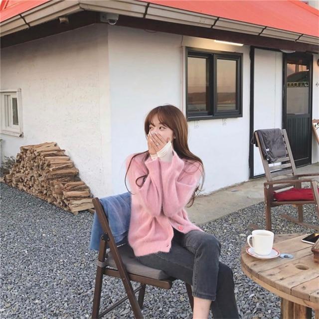 Женские норковые кашемировые кардиганы Осень зима корейские