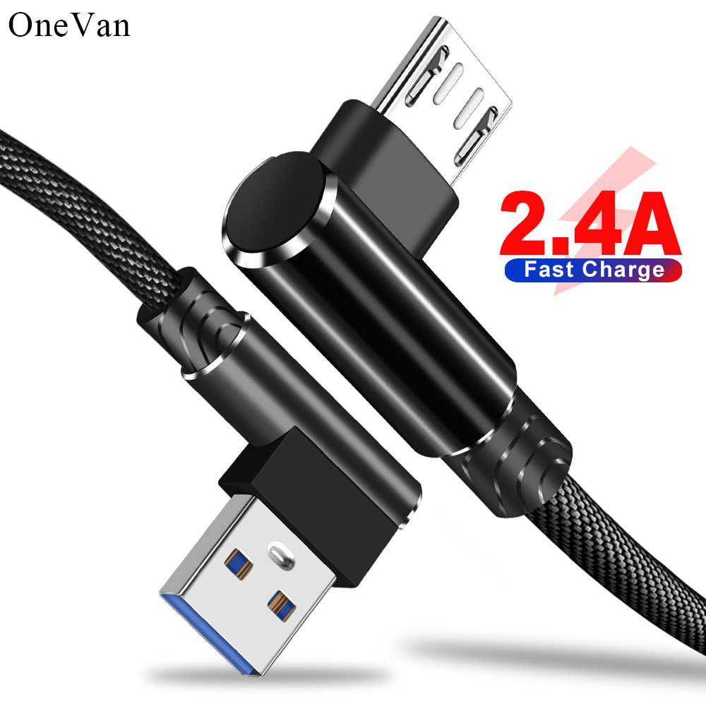 OneVan Usb Cable Elbow Double Fast Charge 2.4A Micro Usb TypeC Cord 90 Degree Nylon Data Line For Charging IPhone Xiaomi Samsung