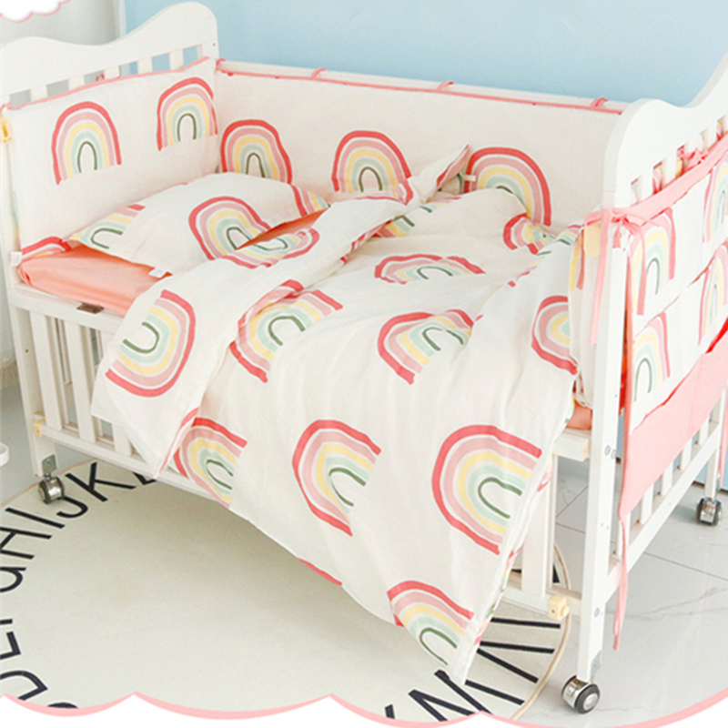 Baby Bedding Set Cotton Bumpers Rainbow Newborn Crib Duvet Cover Pillowcase Bed Flat Sheet Infant Bed Hanging Bag Baby Bed Set