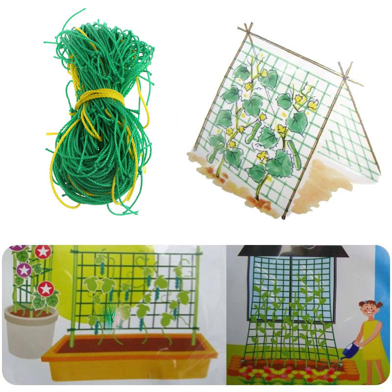 Plant Nets 1.8*1.8M Grow Fence Orchard Fruits Nylon Trellis Netting Strong Noylon Mesh Garden Green Climbing Net