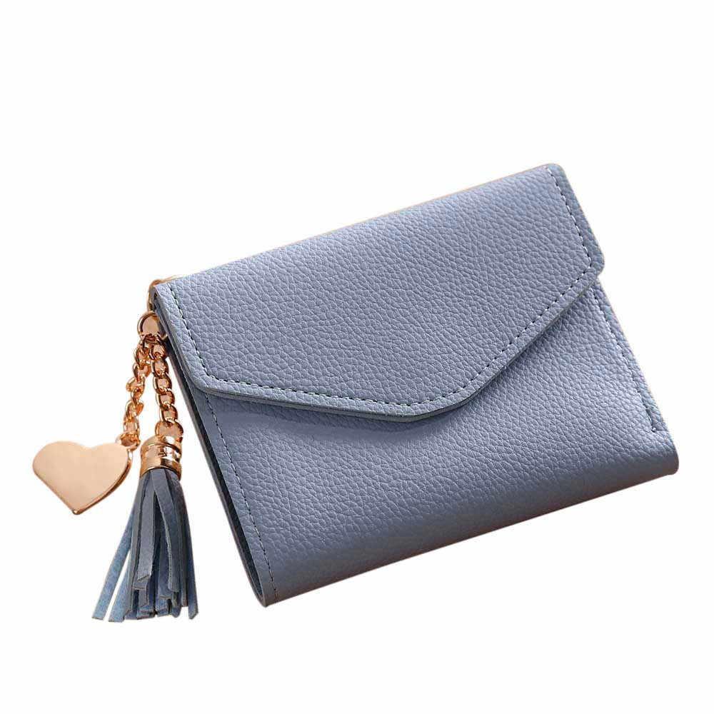 Cartera de mujer con borla 2019, pequeña y bonita cartera para mujer, carteras de cuero cortas para mujer, monederos con cremallera, portefeulle, monedero para mujer, embrague