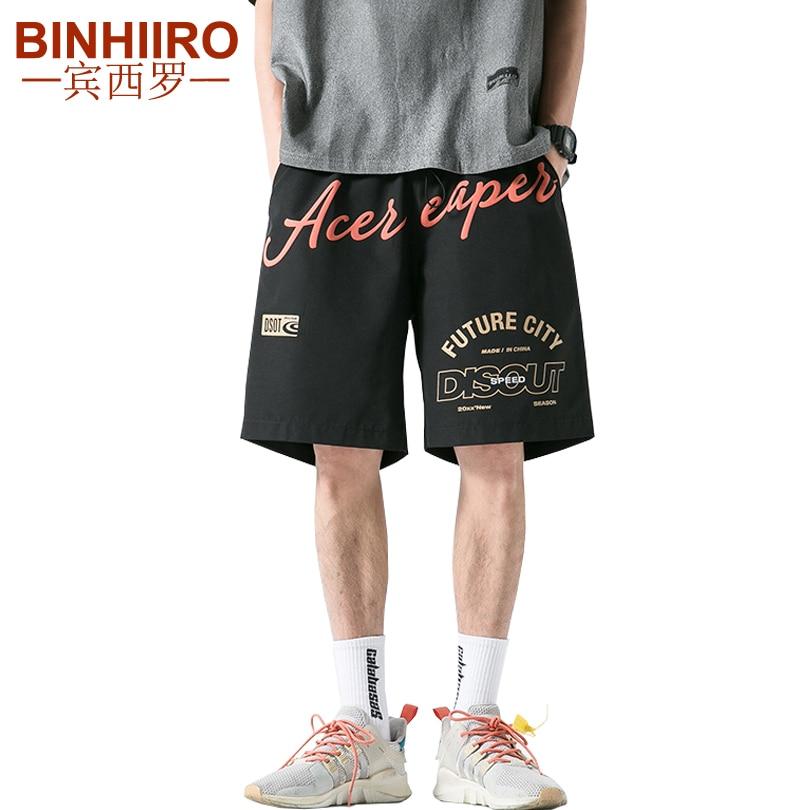 Men's Streetwear Hip-Hop Sweatpants Fashion Letters Printed Loose Knee Length Pants Summer Breathable Straight New Men's Shorts