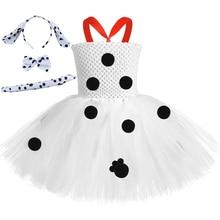 Halloween Girls Dalmatian Dog Tutu Dress Set Polka Dot Kids Birthday Party Dresses for Girls Holiday Cosplay Dalmatian Costume