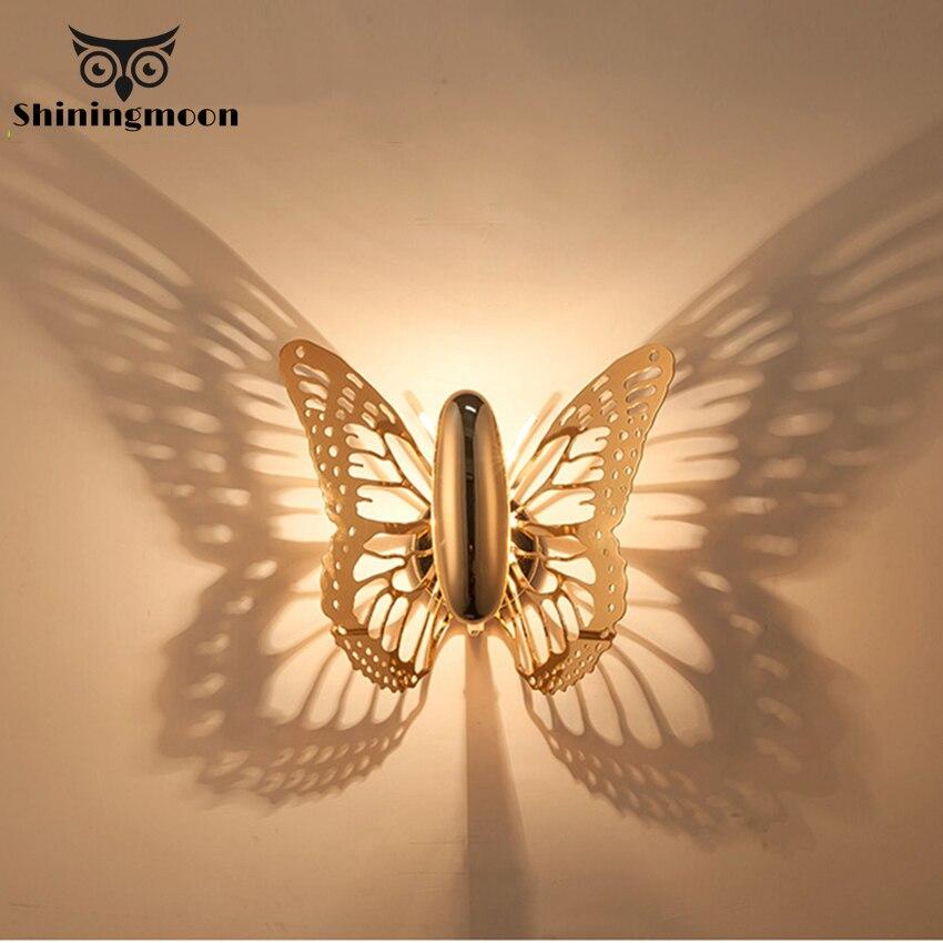 Скандинавский Хрустальный настенный светильник бабочка художественное украшение туалетный свет гостиная настенное бра для ванной комнат