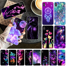 OFFeier Colorful Floral Cat Cool Phone Case Cover for iPhone 11 pro XS MAX 8 7 6 6S Plus X 5 5S SE XR cover black cover lovely cat for iphone x xr xs max for iphone 8 7 6 6s plus 5s 5 se super bright glossy phone case