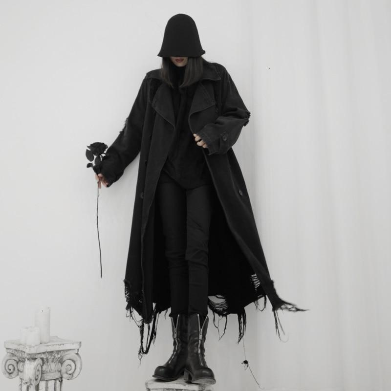 LANMREM 2020 The New Yamamoto Style Dark Black Women's Design Lapel Button Long Cowboy Windbreaker Jacket 19B-a255