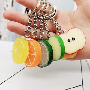 New Lemon Apple KeyChain Car Pendant Resin Accessories Gift Wholesale Simulation Fruit Keycahin Small Pendant Jewelry K2437(China)