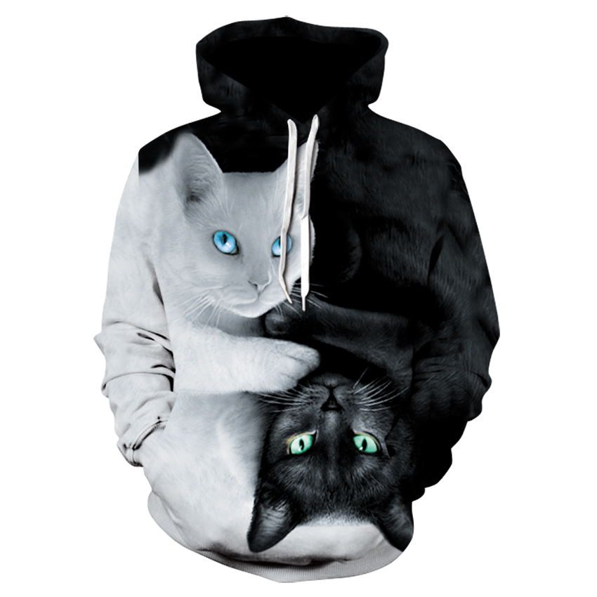 Black And White Cat Print Hoodie Harajuku Animal Print Pocket Pullovers Hip Hop Men's And Women's Sweatshirts