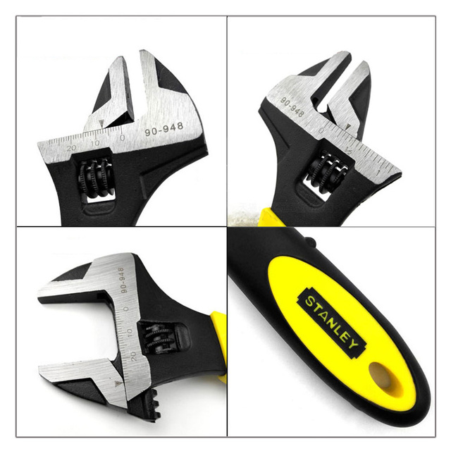 Stanley 1-piece professional wide open bi-material rubber handle adjustable head wrenches spanner inch mm multi tool black Cr-V 2