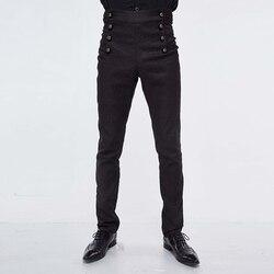 Teufel Mode Hohe Taille Jeans Gothic Viktorianischen Schwarz Seide Hosen Steampunk Halloween Hosen für Männer